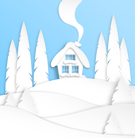 Landscape with a winter house in the snow. Spruce forest. Paper cut design. Merry Christmas and New Year paper art background. Vector illustration. Vectores