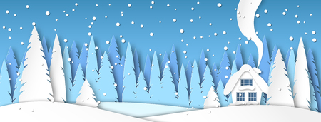Banner for social networks caps. Winter landscape with snow and house in the afternoon. Spruce forest in paper-cut style. Vector illustration