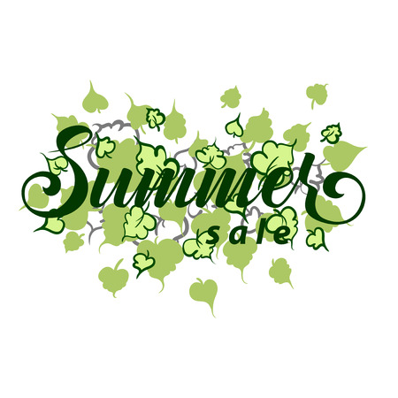 Summer sale poster leaves background. Calligraphy. Vector