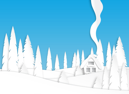 Winter landscape in the afternoon. Snowy fields and trees in the park or forest. Design in paper art style. Vector illustration