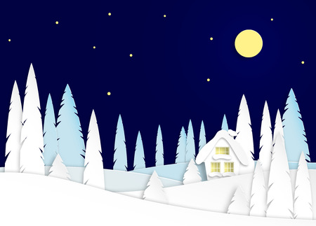 Winter landscape with house on a moonlit night. Snowy trees in a park or forest. Design in the style of paper art. Vectorillustration