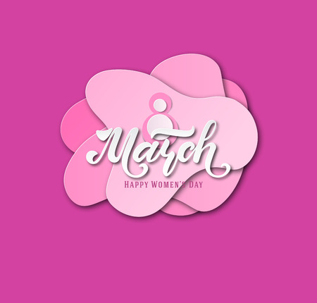 March 8. Postcard. Womens Day. Paper cut holiday background. Lettering. Trendy design template. Happy mothers day. Vector illustration