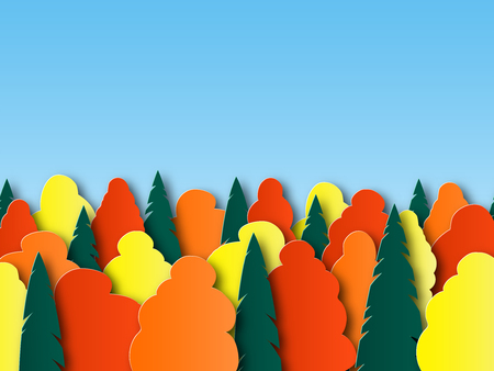 Autumn landscape in paper cut style. Red, yellow, orange leaves on the trees. design postcards, posters, posters in vector.