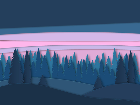 Vector landscape with forest silhouettes before sunrise. Beautiful illustration of sunset, untouched nature. Outdoor scene from national park, nature reserve, nature reserve Illustration