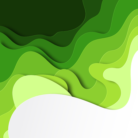 Background paper cut. Abstract paper ornamentin the form of green waves . Art of carving. Vectorillustration Çizim