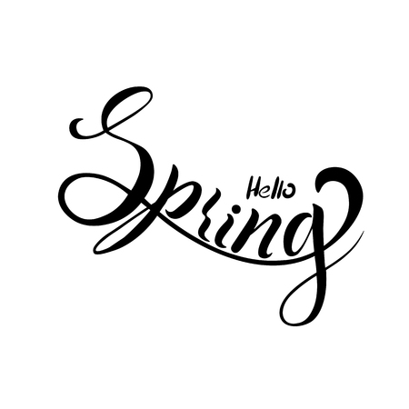 The inscription of the spring season for greeting card, invitation, template background, advertising, sales. Vector illustration