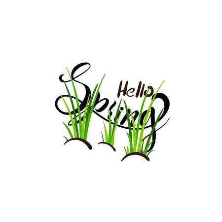 Hello Spring. Lettering spring with green grass for greeting card, invitation template, banner, poster, template background. Vector illustration Stock Illustratie