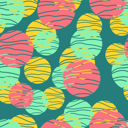 Colorful circles seamless pattern. Geometric background in trendy colors: pale pink, navy blue, mint, coral. Different textures of circles. Design for prints, posters, fabrics, paper packaging