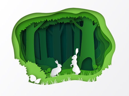 Hares on a clearing in the forest. Summer vector illustration. Paper cut design. Natural landscape. Animals in the wild