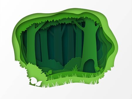 Empty edge of the forest, the park. 3D design with green layers and trees. Grass, bushes, thicket. Paper cut. Çizim