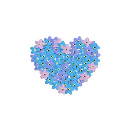 Forget-me-not flowers on a white background. Heart shaped design in the center. Paper Cut Vector illustration