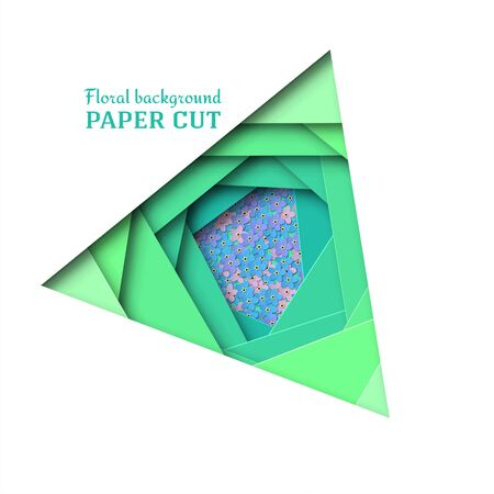 Paper cut background. Delicate blue, pink, purple flowers forget-me-not. Summer floral design in green. Poster, banner, brochure. rectilinear shape. Vector illustration