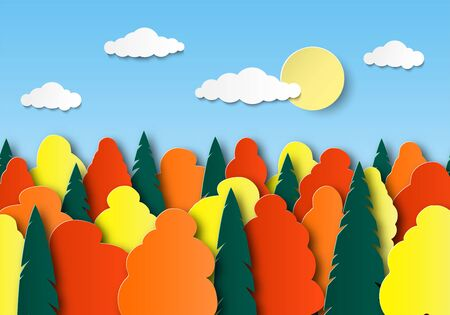 Autumn multi-colored trees on a sunny day. Sky, clouds, forest. Paper cut landscape. Layered design. Vector illustration Banque d'images - 130734356