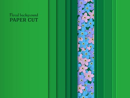 Paper cut background. Blue, pink, purple flowers forget-me-not. Design of smooth lines and shapes with space for text.Summer floral design in green. Poster, banner, brochure. Vector illustration Illustration