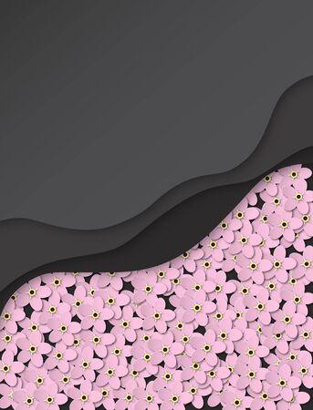 Paper cut abstract background. Delicate pink flowers forget-me-not. Floral design in black color. Poster, banner, brochure. Vector illustration