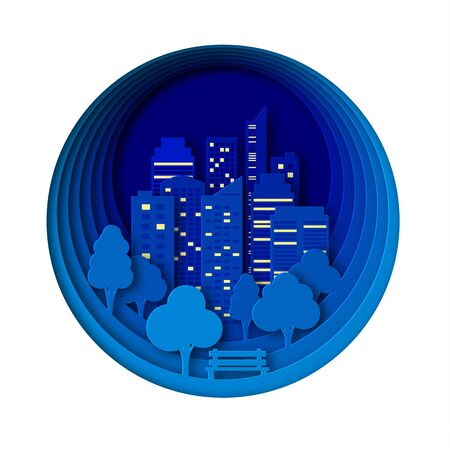 Paper landscape art style in the night city and park. Layered design outdoor recreation.Bench by the tree. Abstract 3d background of a round shape with skyscrapers and trees. Glowing windows in homes.