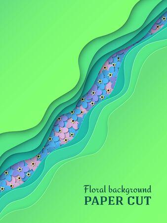 Paper cut background. Delicate blue, pink, purple flowers forget-me-not. Summer floral design in green. Poster, banner, brochure. Vector illustration
