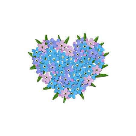 Blue Forget-me-not flowers with leaves on a white background. Heart shaped design in the center. Paper Cut Vector illustration Иллюстрация