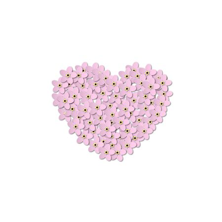Pink Forget-me-not Flowers on a white background. Heart shaped design in the center. Paper Cut Vector illustration