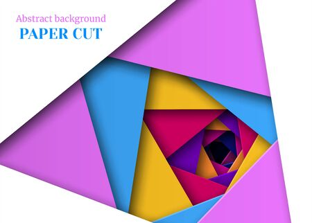 Abstract geometric background in paper cut style. Triangular shape, straight lines. Design for brochures, posters, flyers, advertising. Vector illustration