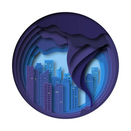 Tornado over the city from tall buildings. Skyscrapers in a hurricane. Design in the style of paper cut, art. Multilayer composition. Vector