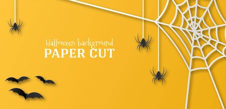 Halloween illustration, banner, business card. Ticket, postcard, design in the style of paper cut, art. Spiders, cobwebs and bats on an orange background. Place for text.