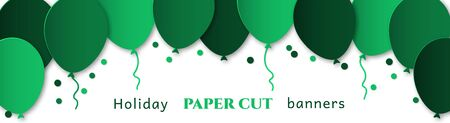 Horizontal banner for congratulations. Green flying balls on a white background. Design in the style of paper cut, art for birthday, wedding