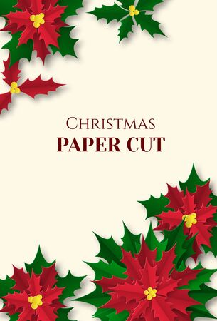 Christmas and New Year poster, card in paper cut style. Poinsettia on a light background. Place for text. Vector illustration Stock Illustratie