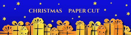 Horizontal banner with gifts, christmas balls. Design for advertising and social networks. Place for text. Paper cut.
