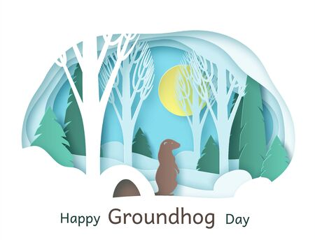 Happy Groundhog Day. February 2. Vector. Paper cut design for printing greeting cards, banners, posters. Groundhog in the forest, climbed out of the hole.