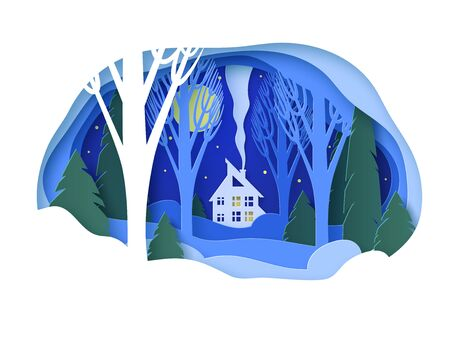 Winter paper landscape with house. Snowy forest with trees without leaves and fir trees. Snowdrifts, snow, moonlit night, stars in the sky. Glade. Vector illustration Illusztráció