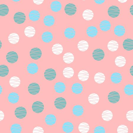 Pink vector background with white, mint, blue circles. Beautiful color pattern in a delicate palette. Design for fabric, paper, packaging, poster, banner sites. Vector illustration