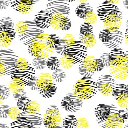 Geometric abstract seamless pattern with yellow circles. Pattern for fashion,wallpaper,paper. Vector illustration.