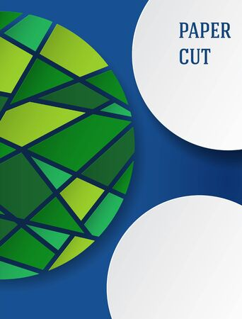 Abstract background in paper style. Poster with green mosaic elements on blue. Free space for text. Vector illustration