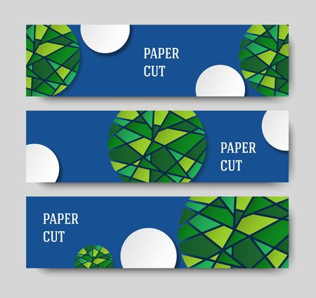 Horizontal banner for sites and social networks. Design in paper style in the form of a mosaic. Abstract blue background. Vector illustration