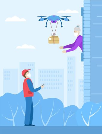 Landing for the delivery service of an online store.Contactless online delivery. Safety during coronovirus. A drone delivers a box to an elderly woman. Managed by the delivery man. Vector illustration