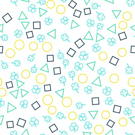 Seamless pattern on a blue background. Clover and geometric shapes. Design for fabric, packaging, papers. Vector illustration