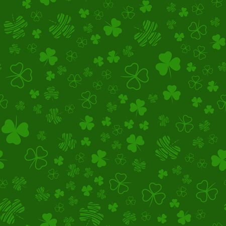 Seamless pattern with clover leaves. Modern background with repeating elements for packaging, printing, fabric. Vector illustration Vectores