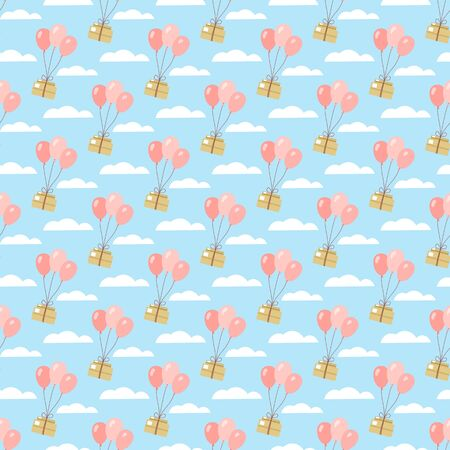 Seamless pattern. Parcel delivery on pink air balls. Balls fly through the sky with clouds with a box. Vector illustration