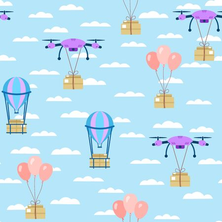 Seamless pattern. Parcel delivery by drone, balloon. Parcels fly through the sky with clouds. Vector illustration
