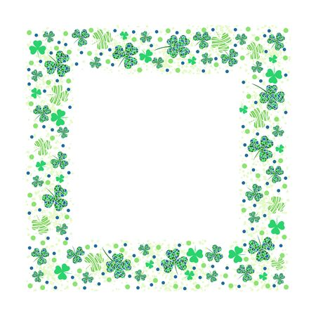 Square frame template with clover leaves and textures. Design with place for text. White background. Vector illustration