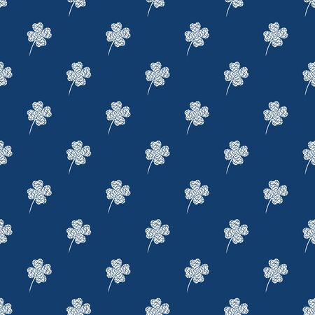 Seamless pattern with white mosaic clover leaves. Modern background with repeating elements for packaging, printing, fabric. Vector illustration
