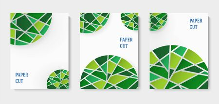 Set of abstract blue and white backgrounds in paper style. Poster with green mosaic elements. Place for text. Vector illustration