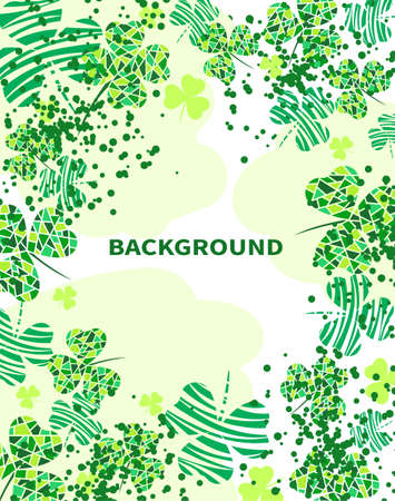 Abstract white background with clover leaves and textures. Design with place for text. Vector illustration
