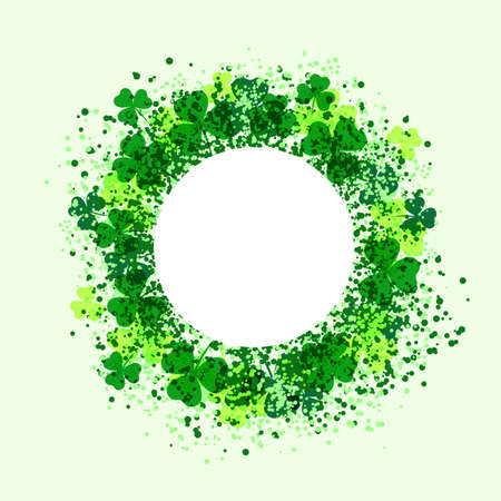 Circle frame templates with clover leaves and textures. Design with place for text. White background. Vector illustration