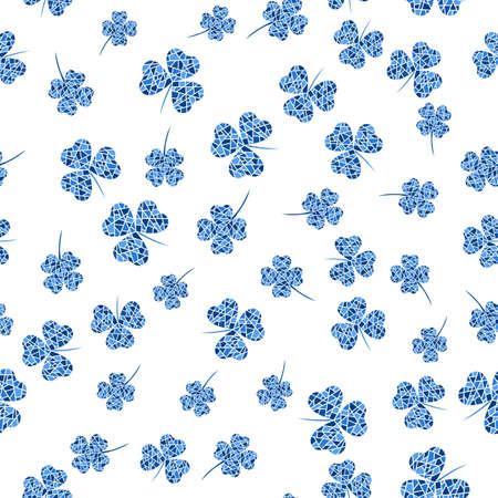 Seamless pattern with blue mosaic clover leaves. Modern background with repeating elements for packaging, printing, fabric. Vector illustration Illustration