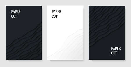 A set of posters. Abstract geometric background in paper cut style. Smooth lines. Design for brochures, posters, flyers, advertising. Vector illustration