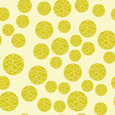 Seamless pattern with yellow mosaic circles. Abstract beige background with geometric elements. Design for wrappers, fabrics, packaging. Vector illustration Illustration