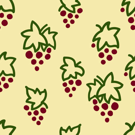 Seamless pattern with grape. Hand drawn elements. Pattern on a colored background with doodles for printing on fabrics, paper, packaging. Vector illustration