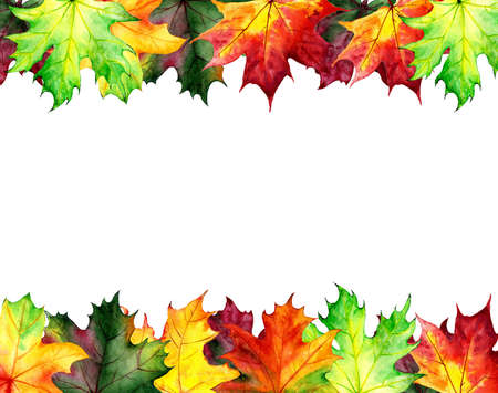 Backgrounds, posters with watercolor maple leaves. Autumn design templates. Hand drawn style. Illustration. Archivio Fotografico